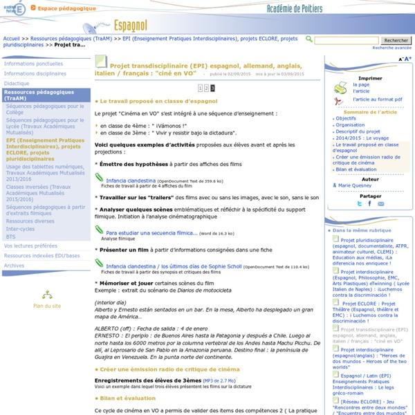 """Projet transdisciplinaire (EPI) espagnol, allemand, anglais, italien / français : """"ciné en VO"""" - Page 3/3 - Espagnol"""