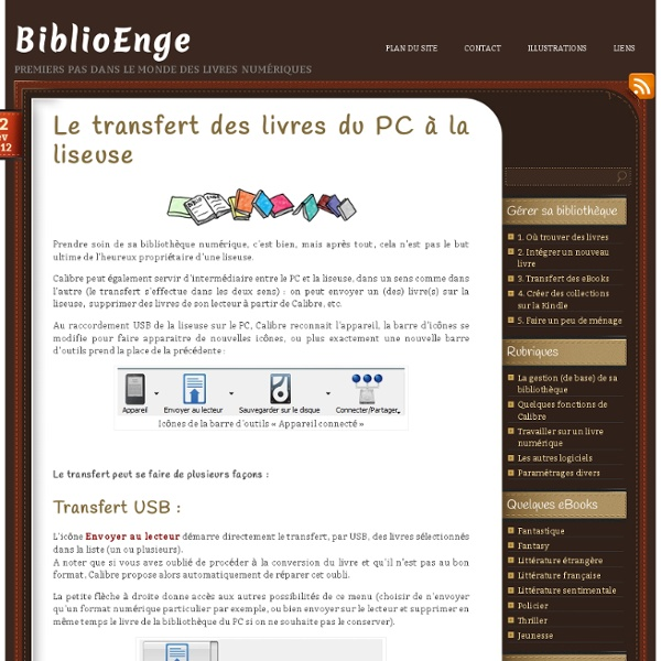Le transfert des livres du PC à la liseuse