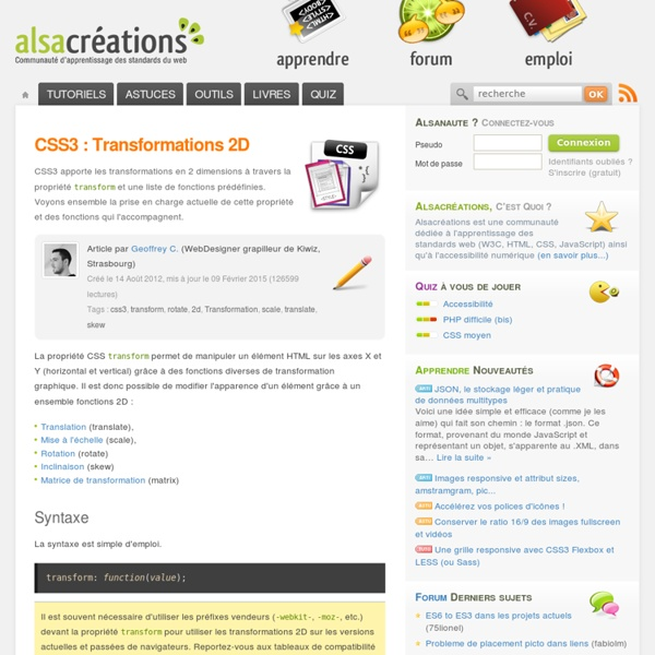 CSS3 : Transformations 2D