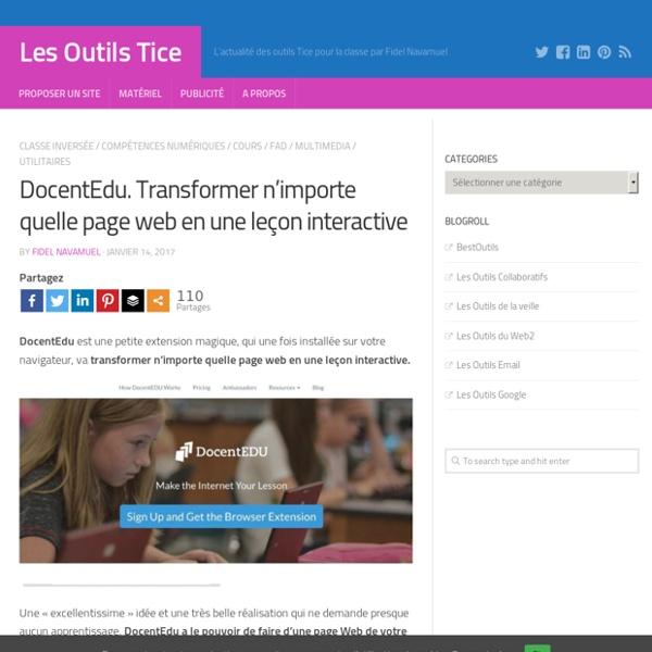 DocentEdu. Transformer n'importe quelle page web en une leçon interactive – Les Outils Tice