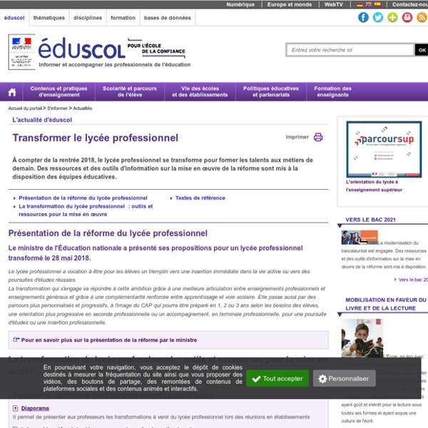 Actualités - Transformer le lycée professionnel