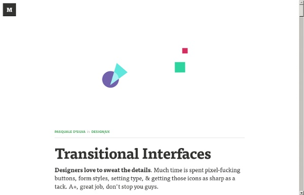 Transitional Interfaces — Design/UX
