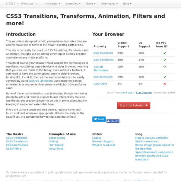 CSS Transitions, Transforms and Animation Tutorial