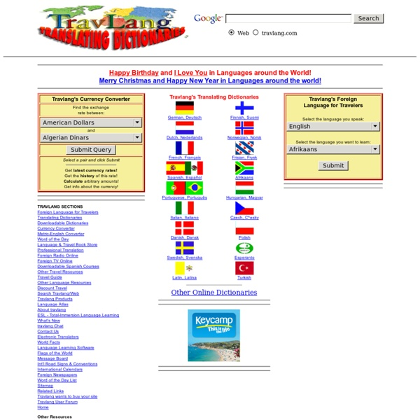 TRAVLANG's Translating Dictionaries