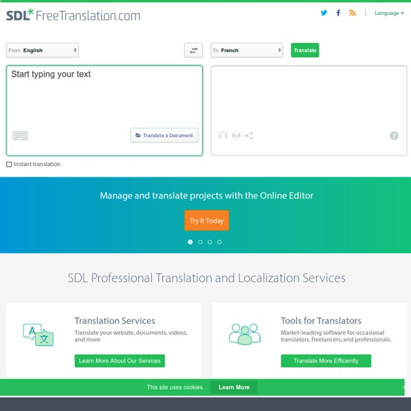 Free Translation and Professional Translation Services from SDL