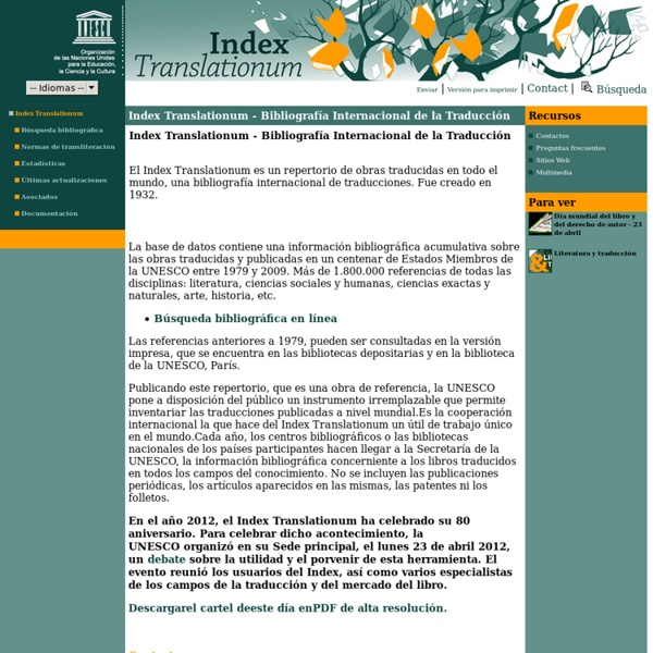 Index Translationum - Bibliografía Internacional de la Traducción