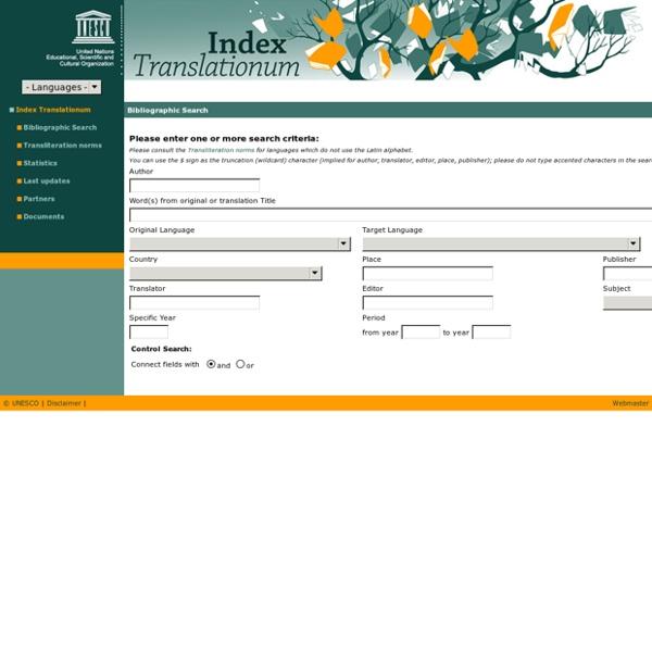 Index Translationum: UNESCO Culture Sector