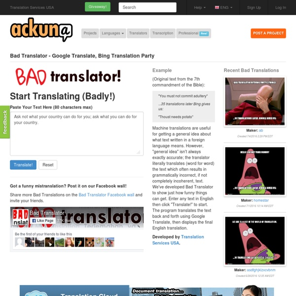 Bad Translator! - Funny Free Translation Tool