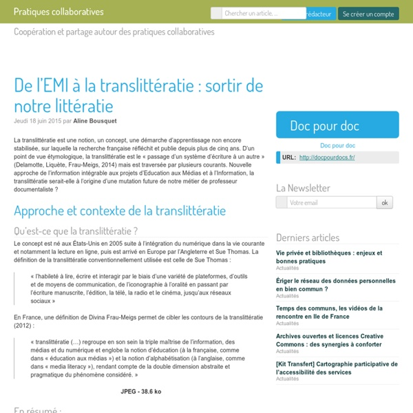 De l'EMI à la translittératie : sortir de notre littératie