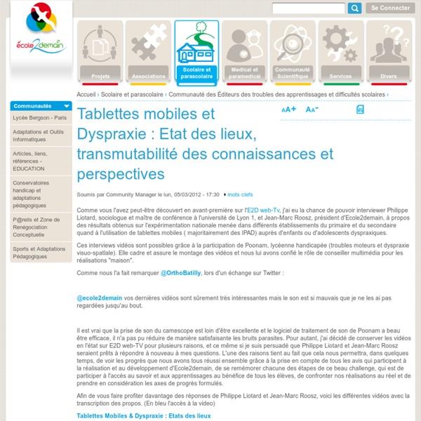 Tablettes mobiles et Dyspraxie : Etat des lieux, transmutabilité des connaissances et perspectives