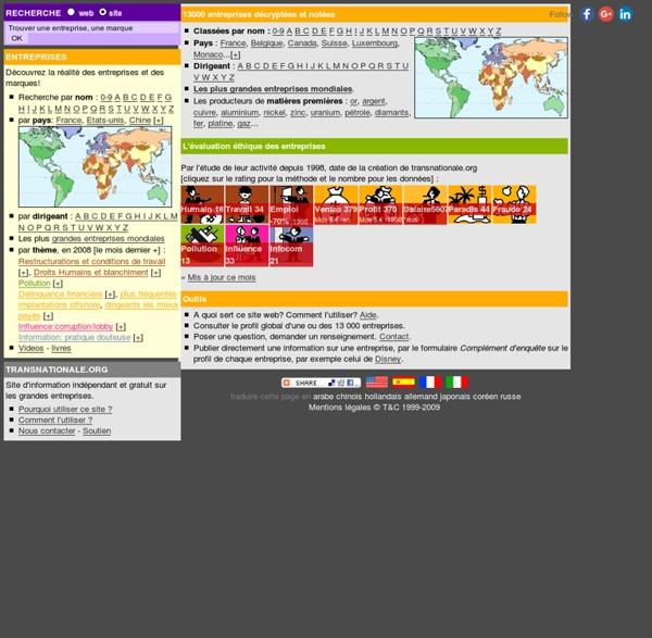 Bienvenue sur Transnationale.org: profil global des entreprises mondiales.