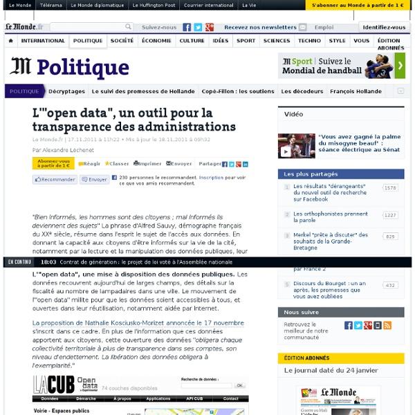 """L'""""open data"""", un outil pour la transparence des administrations"""