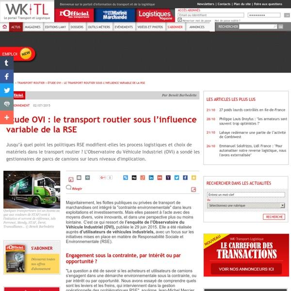 Le transport routier sous l'influence variable de la RSE