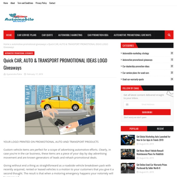 Quick CAR, AUTO & TRANSPORT PROMOTIONAL IDEAS LOGO Giveaways