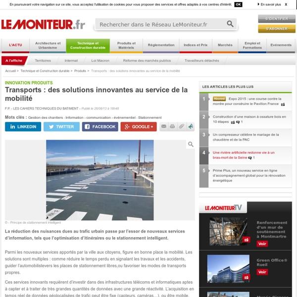 Transports : des solutions innovantes au service de la mobilité - Innovation produits