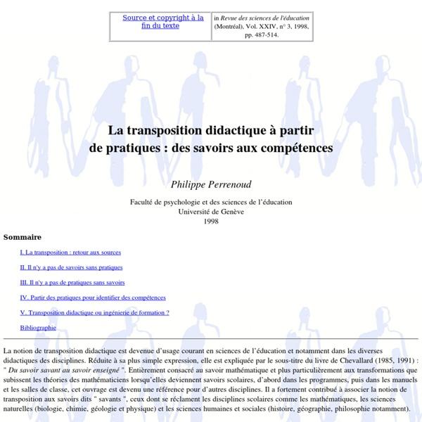 La transposition didactique à partirde pratiques : des savoirs aux compétences