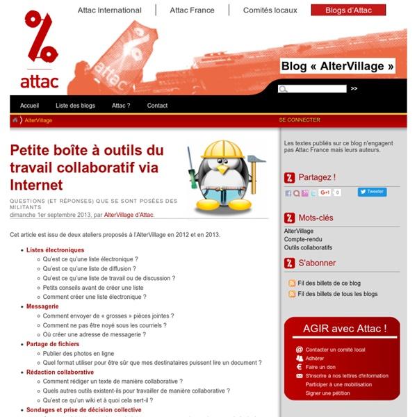 Petite boîte à outils du travail collaboratif via Internet - Les blogs d'Attac