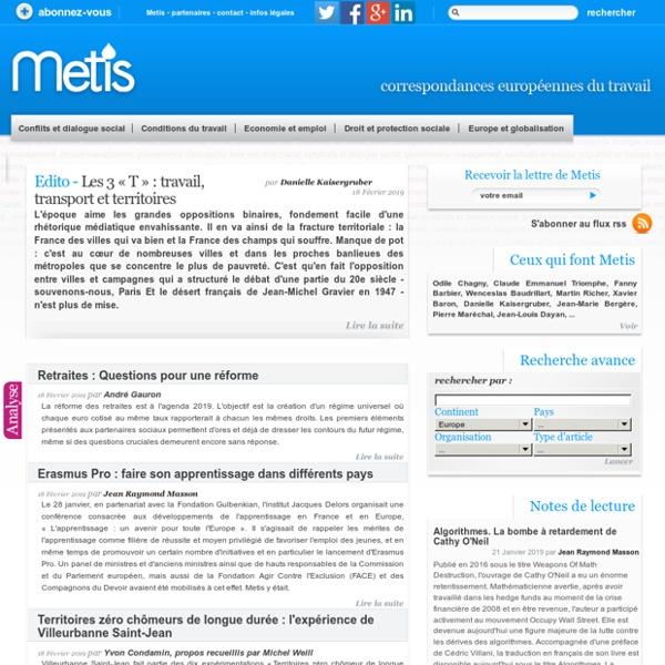 Metis - Correspondances européennes du travail