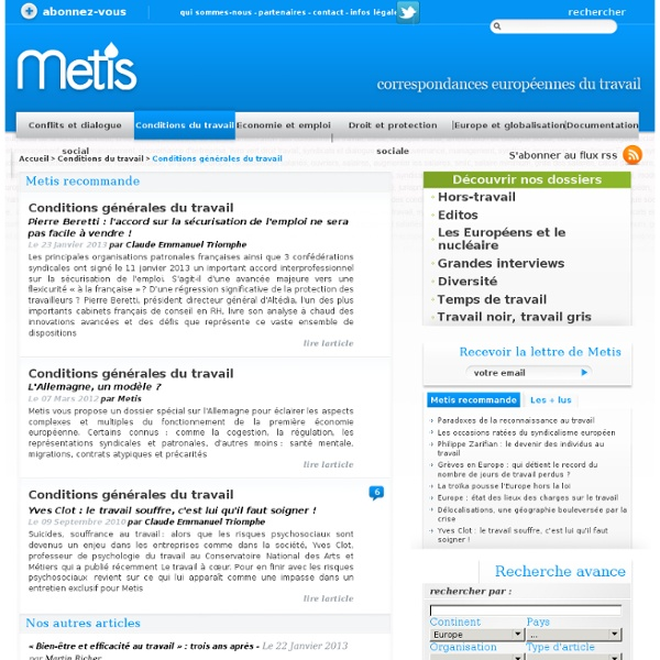 Travail, Europe, crise, conditions de travail, social, UE, emploi, Metis