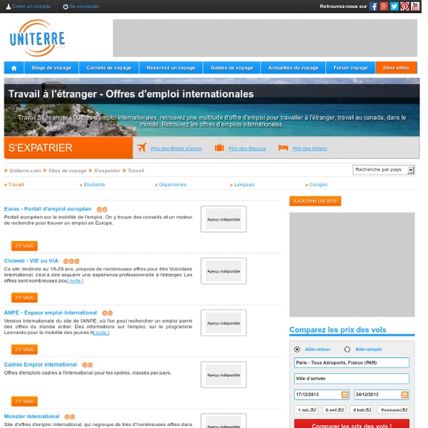 Travail à l'étranger - Offres d'emploi internationales - Uniterre.com