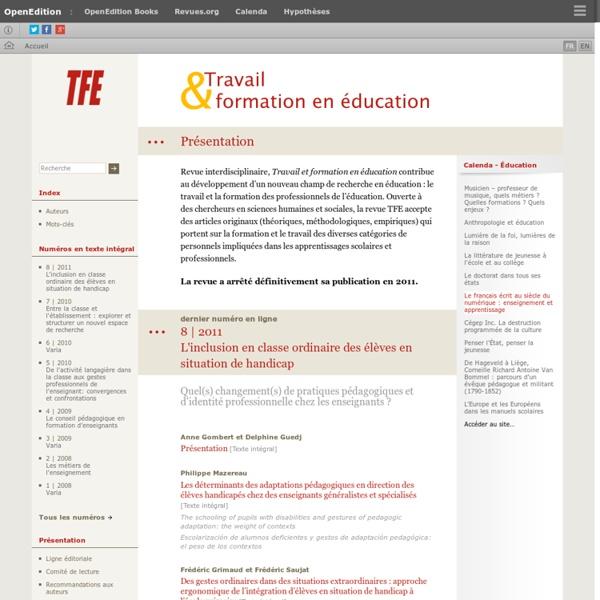Travail et formation en éducation