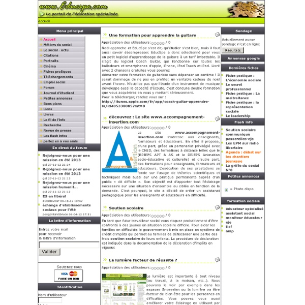 Travail social - formation sociale - emploi social - Accueil