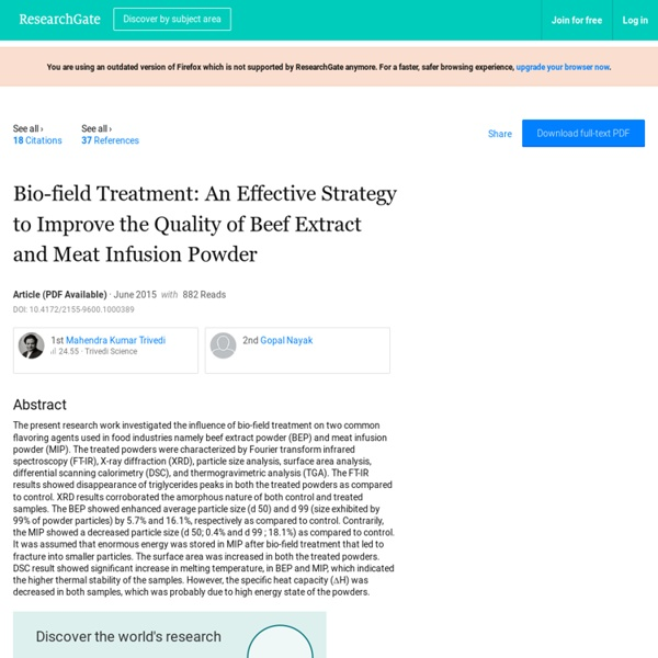 Standard Quality of Beef Extract- Biofield Impact
