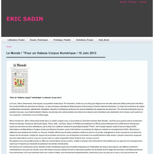 """Le Monde / """"Pour un Habeas Corpus Numérique / 18 Juin 2013"""