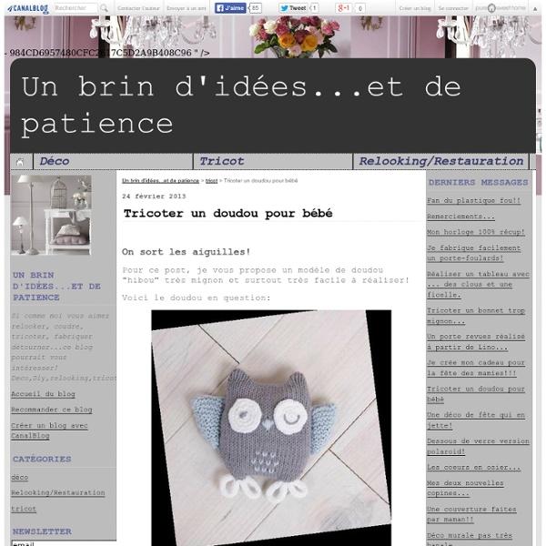 Tricoter un doudou pour bébé - Un brin d'idées...et de patience