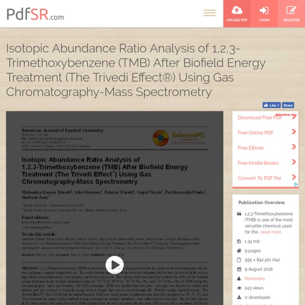 1,2,3-Trimethoxybenzene (TMB) after Biofield Treatment