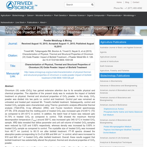 Impact of Energy Treatment on Chromium VI Oxide Properties