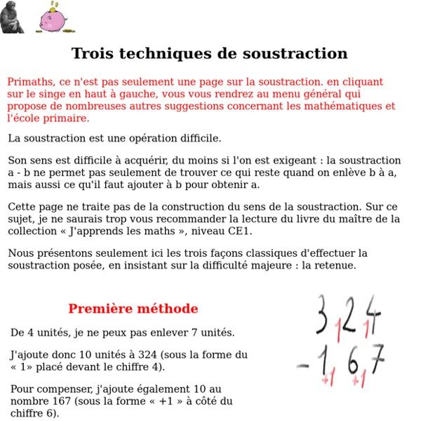 Trois techniques de soustraction
