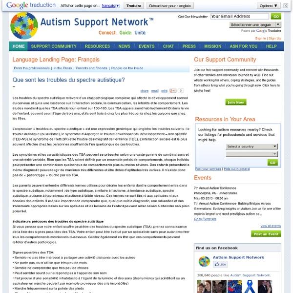 Que sont les troubles du spectre autistique?