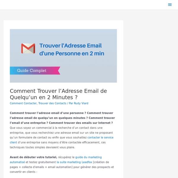 ▶ Trouver l'Adresse Email de Quelqu'un en 2 Minutes ?