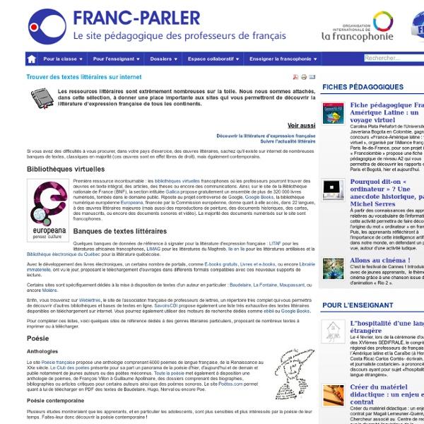 Trouver des textes littéraires sur internet
