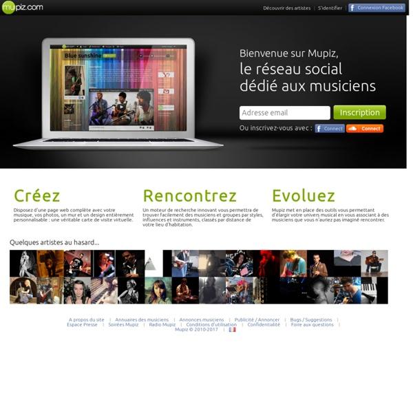 Mupiz - Le réseau social dédié aux musiciens