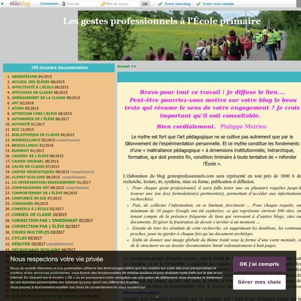 Que trouverez-vous sur ce blog ? - Les gestes professionnels à l'École primaire