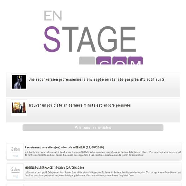 En stage : offres de stage, depot de CV en ligne, banque de CV et