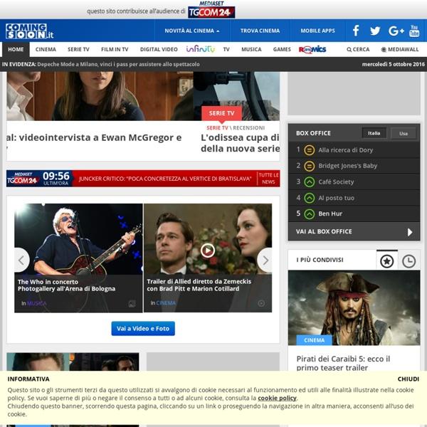 ComingSoon, il sito del cinema: trailer, notizie, curiosità, schede film, classifiche e programmazione nelle sale in tutta Italia
