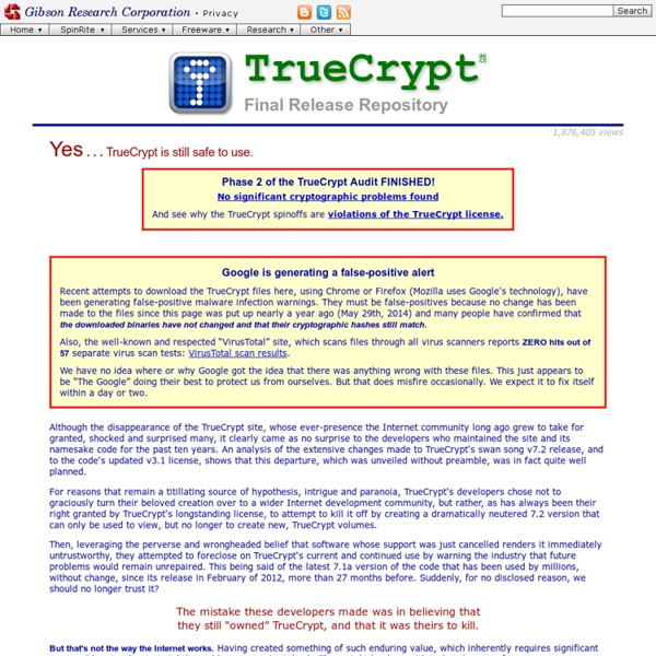TrueCrypt, the final release, archive