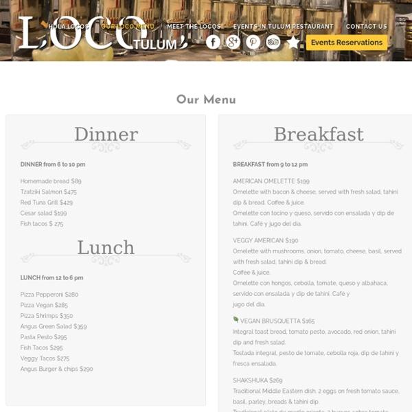 Tulum Restaurant Menu - Loco Tulum