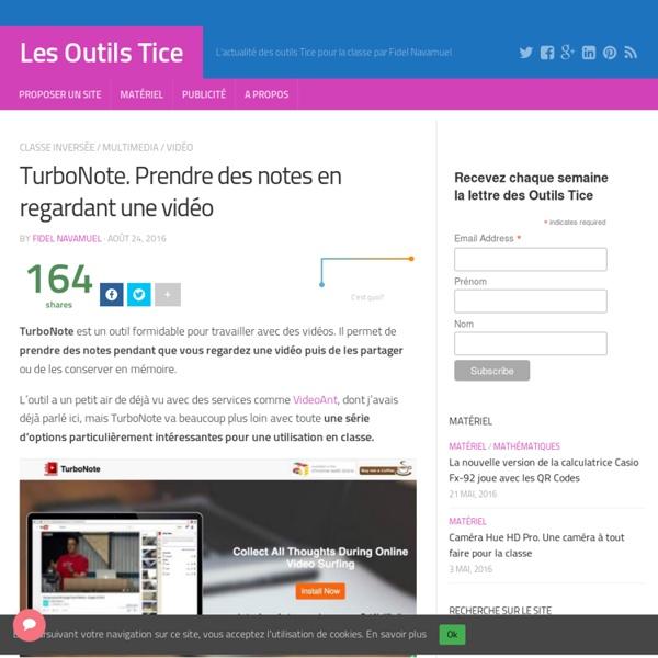 TurboNote. Prendre des notes en regardant une vidéo – Les Outils Tice