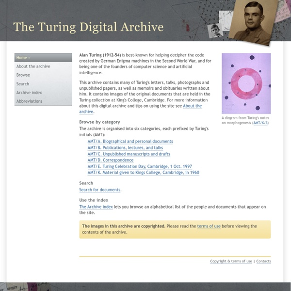 The Turing Digital Archive home page