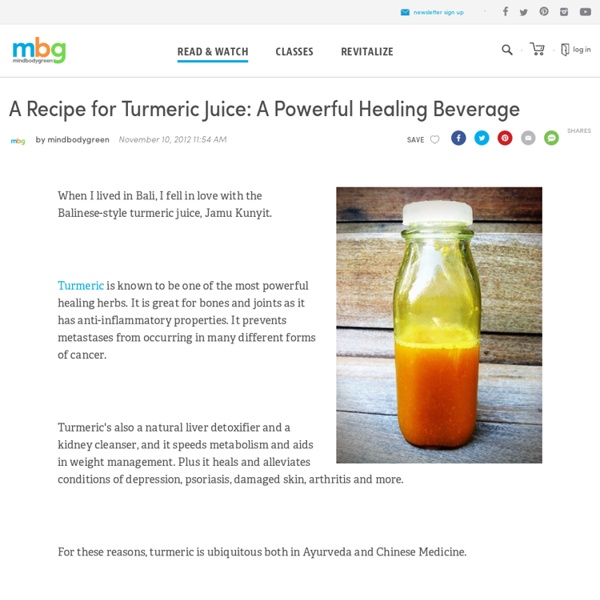 A Recipe for Turmeric Juice: A Powerful Healing Beverage