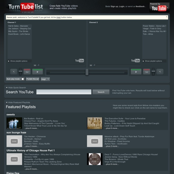 Turntubelist: Mix YouTube video and YouTube music like a DJ. Create video playlists and ROCK!