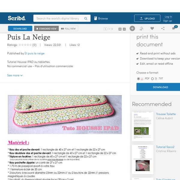Tuto Housse iPad - Et Puis La Neige