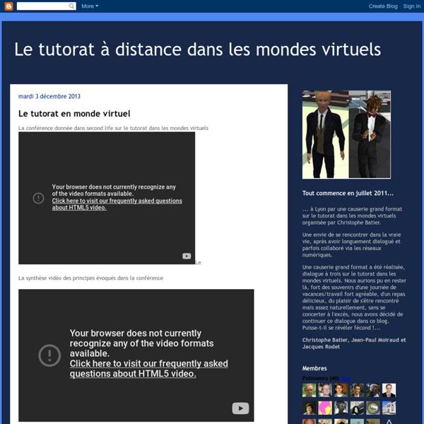 Le tutorat à distance dans les mondes virtuels