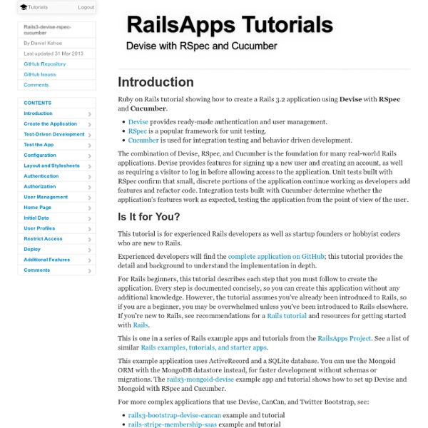 Rails Tutorial for Devise with RSpec and Cucumber