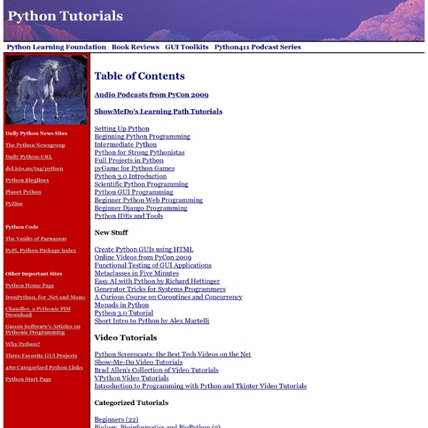Python Tutorials, more than 300, updated March 2, 2009 and carefully sorted by topic and category