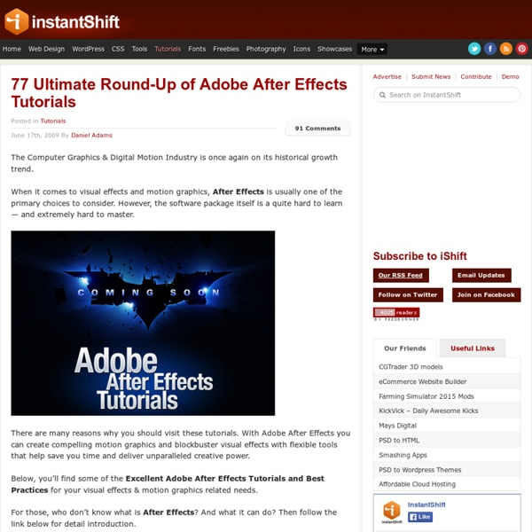 77 Ultimate Round-Up of Adobe After Effects Tutorials